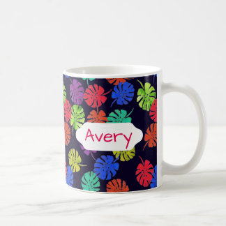 Bright ferns on navy blue custom design coffee mug