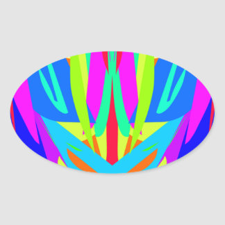 Bright Festive Symmetrical Abstract Pattern Oval Sticker