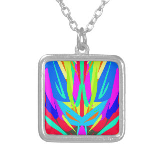 Bright Festive Symmetrical Abstract Pattern Silver Plated Necklace