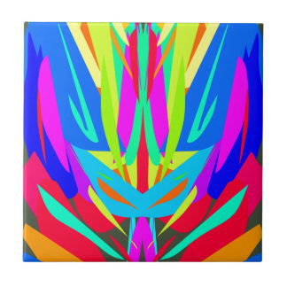Bright Festive Symmetrical Abstract Pattern Small Square Tile