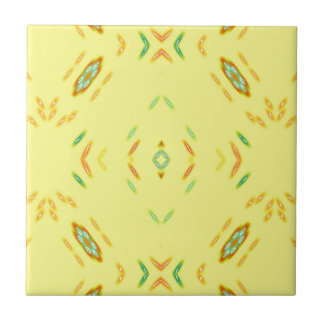 Bright Festive Yellow Pattern Small Square Tile