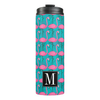 Bright Flamingo Pattern | Add Your Initial Thermal Tumbler
