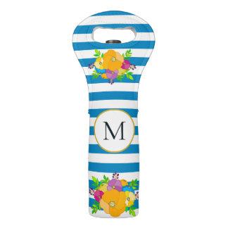 Bright Floral Blue White Stripes Floral Monogram Wine Bag