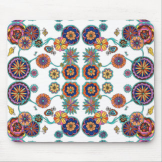 Bright Floral Butterfly Mouse Pad Multi-color