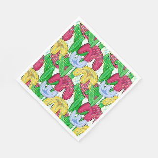 Bright floral doodle spring mood, themed party. paper serviettes