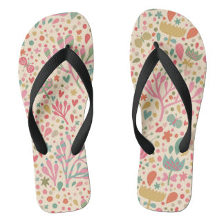 Bright floral pattern thongs