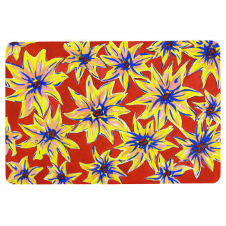 Bright Floral Pop Art Watercolour Floor Mat