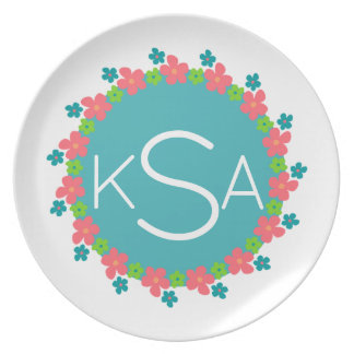 Bright Flower Border Vintage Circle & Monogram Plate