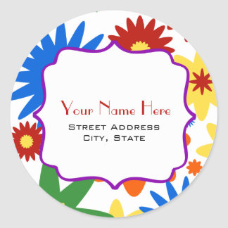 Bright Flowers Address Sticker