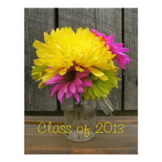 Bright Flowers Barnwood Graduation Announcement