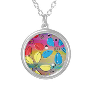 Bright Flowers Intertwined Silver Plated Necklace