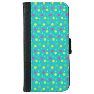 Bright Flowers on Blue iPhone 6 Wallet Case