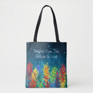 Bright Flowers Starry Night Dreams Come True Tote Bag