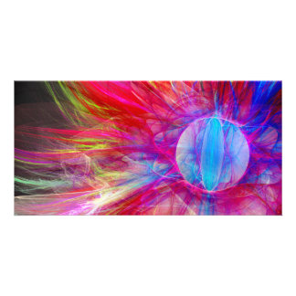 Bright fractal abstract design customized photo card