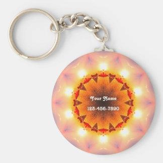 Bright Fractal Sun Key Ring