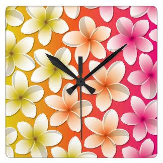 Bright Frangipani/ Plumeria flowers Clock