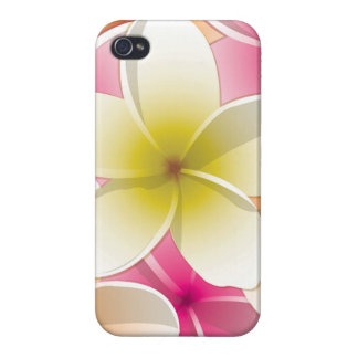 Bright Frangipani/ Plumeria flowers iPhone 4 Covers