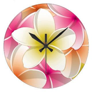 Bright Frangipani/ Plumeria flowers Wall Clocks