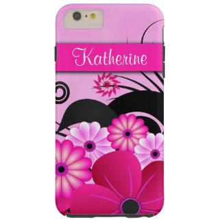 Bright Fuchsia Pink Floral Hibiscus Flowers Tough Tough iPhone 6 Plus Case