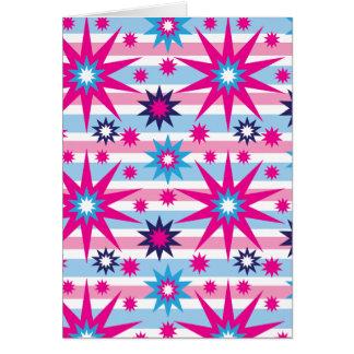 Bright Fun Hot Pink Blue Stars Snowflakes Striped Greeting Card