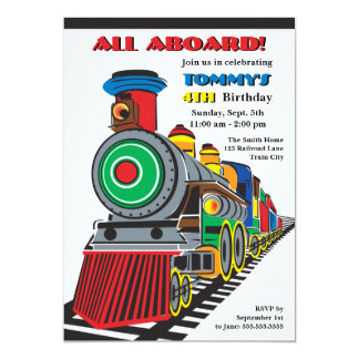Bright Fun Kid Train Invitation