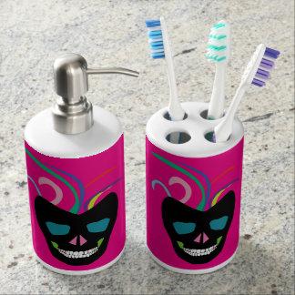 Bright Fun Pink Sugar Skull Bathroom Set