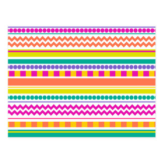 Bright, Funky & Colorful Striped Pattern Design Postcard