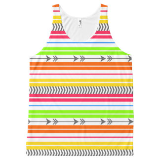 Bright Funky Stripes and Arrows All-Over Print Tank Top