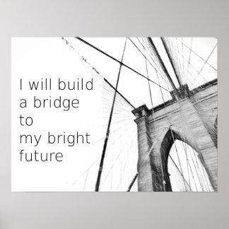 Bright Future Broklyn Bridge Design Poster