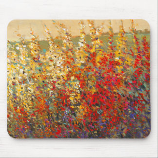 Bright Garden Mural of Spring Wildflowers Mouse Pads