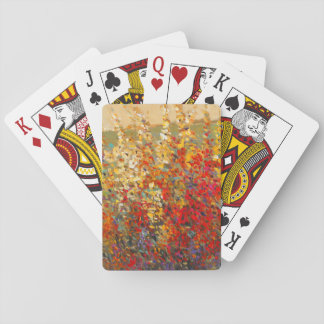 Bright Garden Mural of Spring Wildflowers Playing Cards