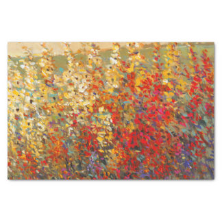 Bright Garden Mural of Spring Wildflowers Tissue Paper