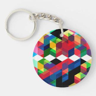 Bright Geometric Diamond Pattern Key Ring