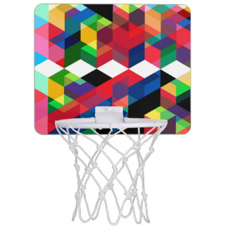 Bright Geometric Diamond Pattern Mini Basketball Hoop
