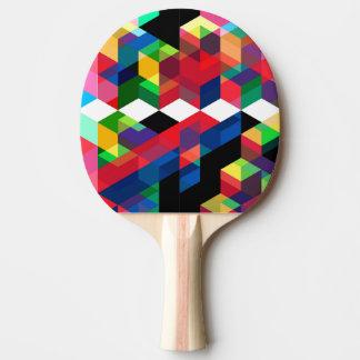 Bright Geometric Diamond Pattern Ping Pong Paddle