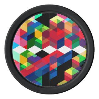 Bright Geometric Diamond Pattern Poker Chips