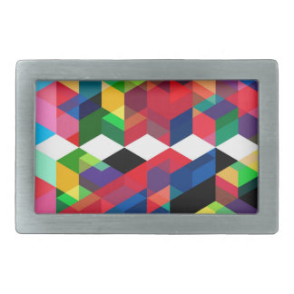Bright Geometric Diamond Pattern Rectangular Belt Buckles