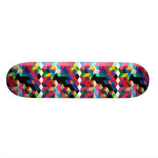 Bright Geometric Diamond Pattern Skate Boards