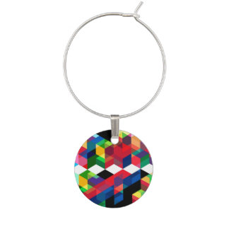Bright Geometric Diamond Pattern Wine Charm