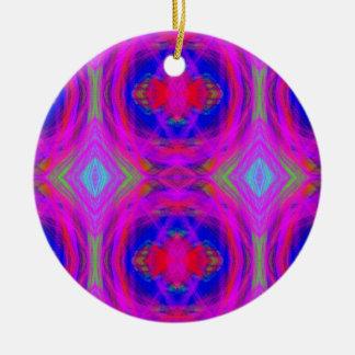 Bright Girly Chic Neon Tribal Pattern Ceramic Ornament
