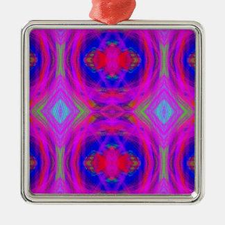 Bright Girly Chic Neon Tribal Pattern Metal Ornament