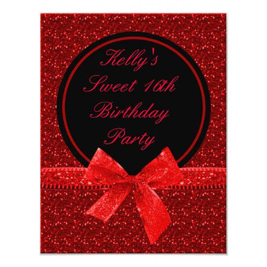 Bright Glitter Red Mod Sweet 16 Party Card