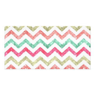 Bright Glitter Teal Coral Emerald Red Chevron Photo Cards
