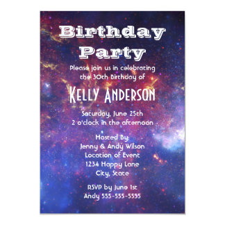 Bright Glowing Galaxy in Outer Space 13 Cm X 18 Cm Invitation Card