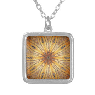 Bright Gold Ancient Mandala Design Silver Plated Necklace