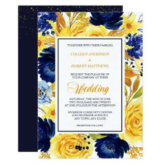 Bright Gold Navy Blue Floral Modern Wedding Invite