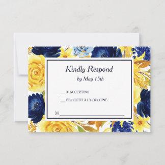 Bright Gold Navy Blue Floral Wedding