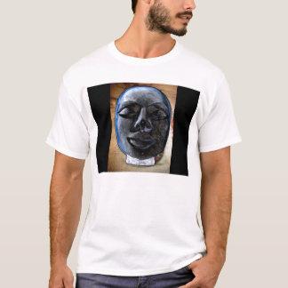 Bright Gray&Blue Buddha Face by KLM T-Shirt