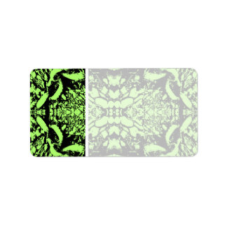 Bright Green and Black Abstract Design. Address Label