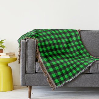 Bright Green and Black Throw Blanket